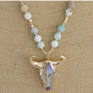 Jewelry - Crystal Bull Head and Bead Necklace